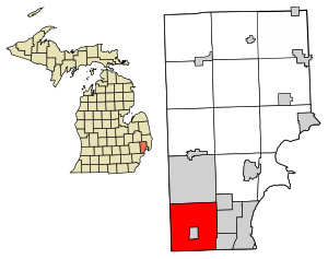Macomb County Michigan Incorporated and Unincorporated areas Warren Highlighted.svg