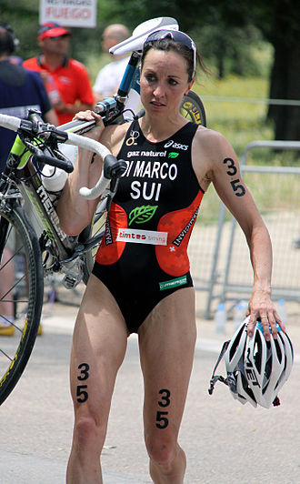 Magali Messmer - Magali Di Marco Messmer after having been involved in a mass bike crash at the World Championship Series triathlon in Madrid.