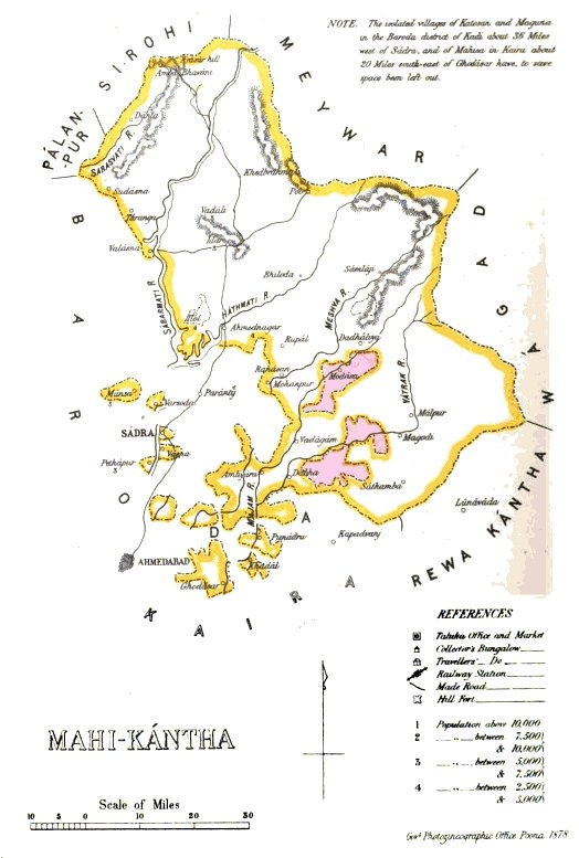 Mahi Kantha Agency British India map 1878