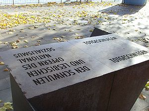"Persecution of homosexuals in Nazi Germany and the Holocaust - Memorial ""to the gay and lesbian victims of National Socialism"" in Cologne: The inscription on the left side of the monument (to the viewer's right from the angle depicted) reads ""Totgeschlagen – Totgeschwiegen"" (""Struck Dead – Hushed Up"")."