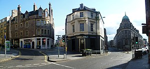 West Port, Edinburgh - Main Point, the historic junction of the three roads (2nd l. to r.) to Carlisle, Glasgow and Stirling