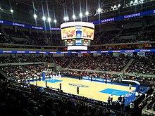 A PBA basketball game at the Mall of Asia Arena.