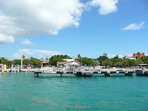 Mallory Square - Mallory Square as seen from the Gulf of Mexico. Downtown Key West can be seen in the background.