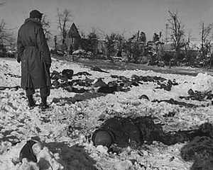 Malmedy massacre trial - Victims of the Malmedy massacre were preserved under the snow until Allied forces recaptured the area in January 1945.