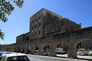Santa Venera - Town hall and part of the Wignacourt Aqueduct at Santa Venera