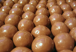 Maltesers in a tray.