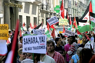 Western Sahara - A demonstration in Madrid for the independence of Western Sahara.
