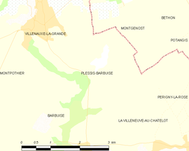 Mapa obce Plessis-Barbuise