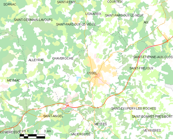 Map of the commune of Ussel