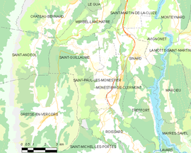 Mapa obce Saint-Paul-lès-Monestier