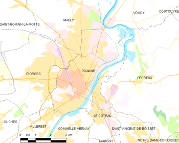 Map of the commune of Roanne