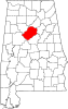 Mapa d'Alabama cont en evidenza Jefferson County