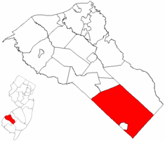 Franklin Township highlighted in Gloucester County. Inset map: Gloucester County highlighted in the State of New Jersey.
