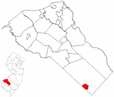 Newfield highlighted in Gloucester County. Inset map: Gloucester County highlighted in the State of New Jersey.