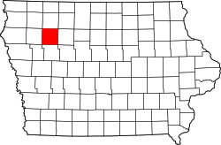 map of Iowa highlighting Buena Vista County