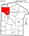 Map of Jefferson County, Pennsylvania Highlighting Eldred Township.PNG