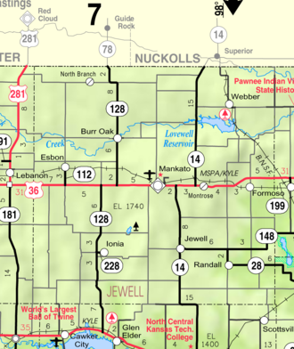 Jewell County, Kansas - Image: Map of Jewell Co, Ks, USA