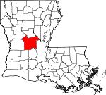 State map highlighting Rapides Parish