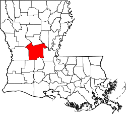 Harta e Rapides Parish në Louisiana