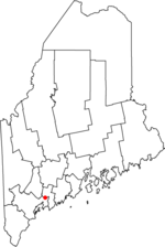 Location of Topsham, Maine