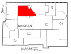 Map of McKean County Highlighting Bradford Township.PNG