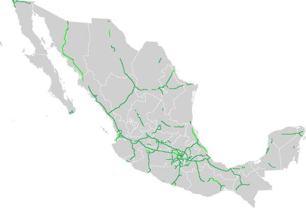 Mexico Toll Road Map List of Mexican autopistas   Wikipedia