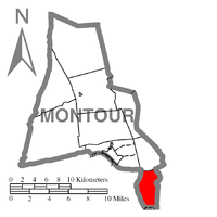 Map of Montour County, Pennsylvania Highlighting Mayberry Township