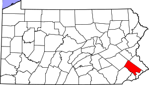 Map of Pennsylvania highlighting Montgomery County