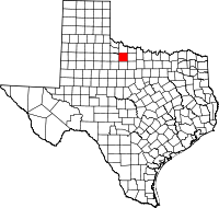 Map of Texas highlighting Baylor County