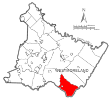 Map of Westmoreland County, Pennsylvania Highlighting Donegal Township