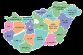 karta madjarske Županije u Mađarskoj   Wikipedia karta madjarske