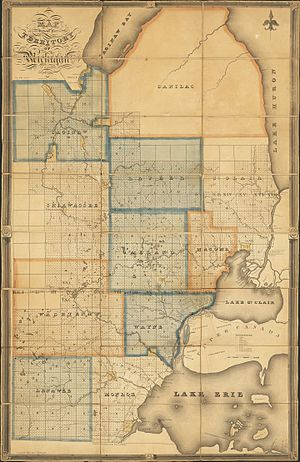 Sanilac County, Michigan - Map of the Surveyed Part of the Territory of Michigan by Orange Risdon, 1825, showing an earlier, larger incarnation of Sanilac County, most of which had not yet been surveyed.