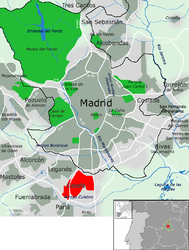 Getafe all'interno della provincia di Madrid