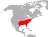 Mapa distribución lobo rojo (canis rufus).png