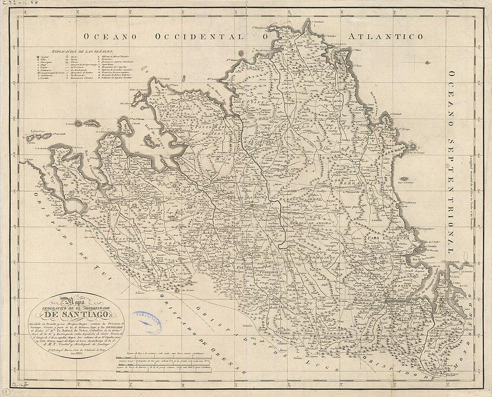 Mapa do arcebispado de Santiago (1825)