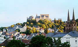 View of Marburg, dominated by the castle and St. Elizabeth's Church