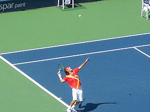 2007 US Open (tennis) - Marcos Baghdatis serving at the 2007 US Open