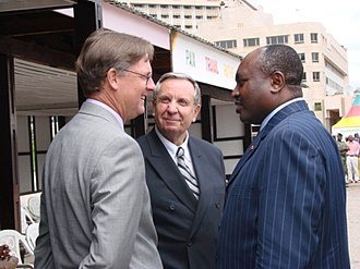 Centre Region (Cameroon) - U.S. Ambassador R. Niels Marquardt, Parker Transnational Industries Cameroon Chairman Dr. Ralph Thomson, and Governor Fai Yengo Francis in Yaoundé at the launch of Le Bus, a new public transportation system, on 25 September 2006