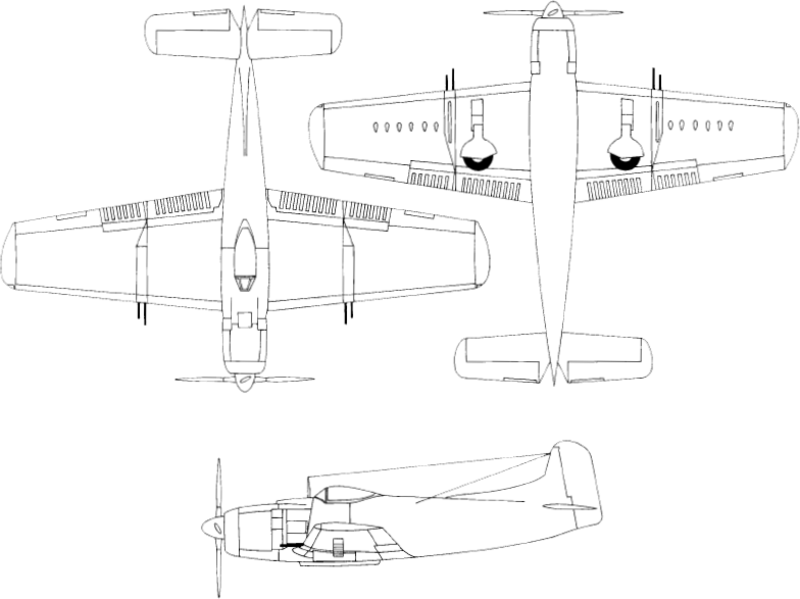Line drawings for an AM-1 - Martin AM Mauler