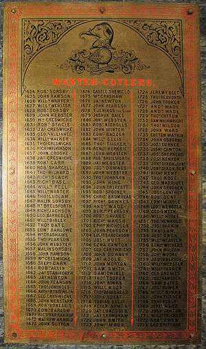 Master Cutler - Brass Plaque in Cutlers' Hall