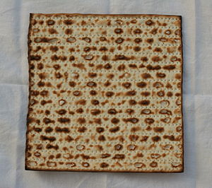 Matzah pizza - Because Jews are forbidden from eating foods made with leavening agents or yeast during Passover, some individuals will substitute matzo (pictured) for traditional pizza crusts.