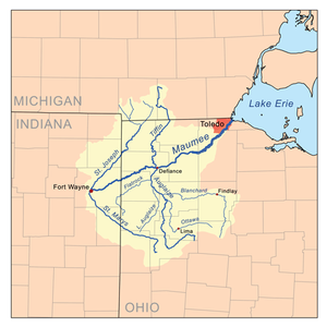 Stream capture - The Maumee River basin. The Maumee, flowing north-east, has broken into part of another river's basin, capturing west-flowing streams and forcing them to reverse direction on entering it.