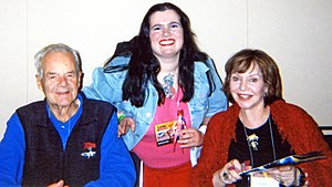 Peter Fernandez - Peter Fernandez (left) with Corinne Orr (right) and a fan at New York Anime Festival 2007