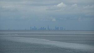 Port Phillip - The Melbourne skyline, seen across Port Phillip.