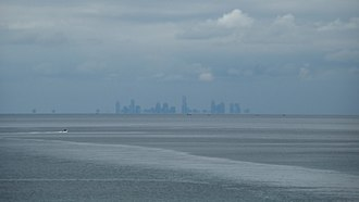 Port Phillip - The Melbourne skyline, seen across Port Phillip.