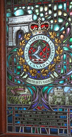 Royal Roads Military College - Memorial Stained Glass window, Class of 1958, Royal Military College of Canada features an image of Hatley Castle, then home of Canadian Service College Royal Roads