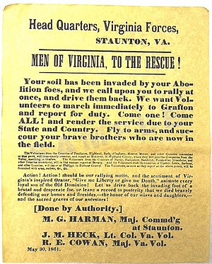 "Confederate States Army - An 1861 Confederate recruiting poster from Virginia, urging men to join the Confederate cause and fight off the U.S. Army, which it refers to as a ""brutal and desperate foe""."