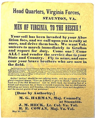 "Virginia in the American Civil War - An 1861 Confederate recruiting poster from Virginia, urging men to join the Confederate cause and fight off the U.S. Army, which it refers to as the ""Abolition foes""."