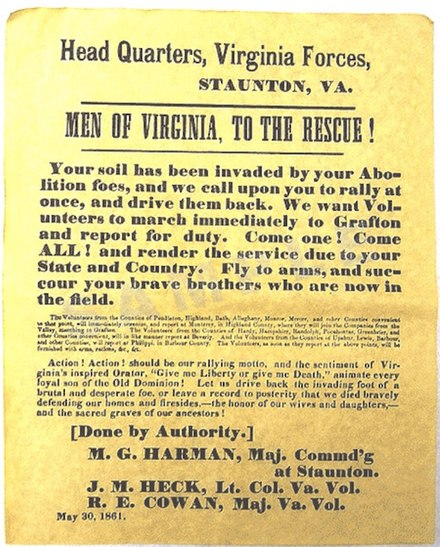 "An 1861 Confederate recruiting poster from Virginia, urging men to join the Confederate cause and fight off the U.S. Army, which it refers to as a ""brutal and desperate foe"". Men of Virginia to the Rescue! (May 1861).jpg"