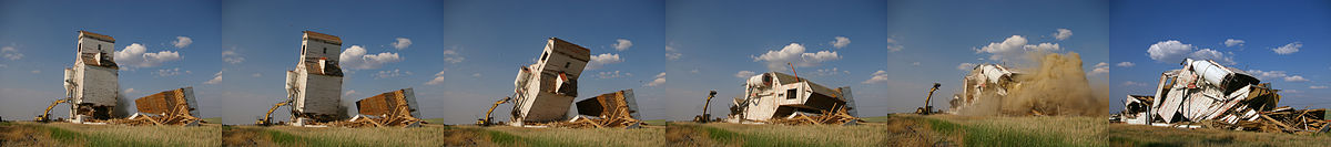 Sequence of images depicting demolition of the last grain elevator in Mendham, Saskatchewan, June 2009